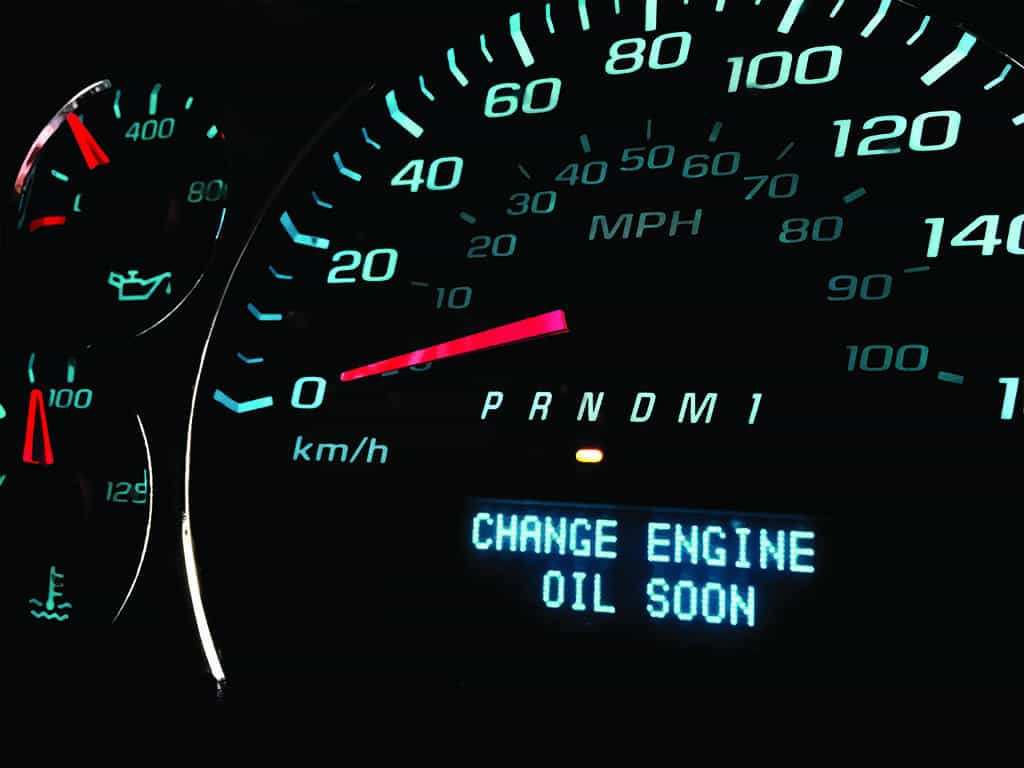 A customer's oil change light appearing on in their car.