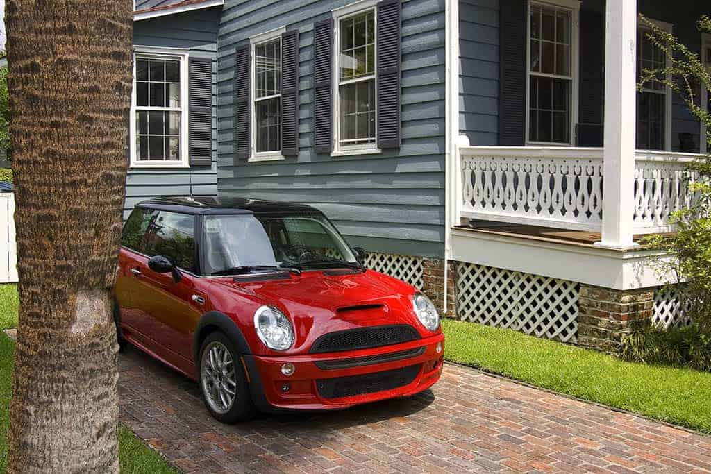 A mini-cooper parked next to a customer's house in Mays Landing, NJ