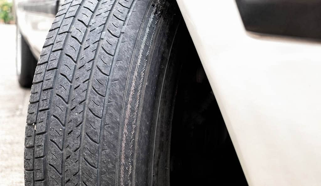 Bad tire tread on a customer's tire in Mays Landing, NJ.