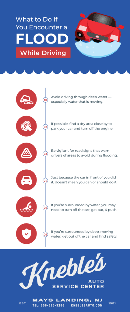 What to Do If You Encounter a Flood While Driving Infographic  1. Avoid driving through deep water — especially water that is moving.  2. If possible, find a dry area close by to park your car and turn off the engine.  3. Be vigilant for road signs that warn drivers of areas to avoid during flooding.  4. Just because the car in front of you did it, doesn't mean you can or should do it.  5. If you're surrounded by water, you may need to turn off the car, get out, and push.  6. If you're surrounded by deep, moving water, get out of the car and find safety.